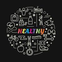 hälsosam färgglad tonad bokstäver med linjeikoner vektor
