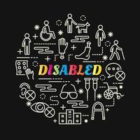 bunte Farbverlaufsbeschriftung der Behinderungen mit Liniensymbolen vektor