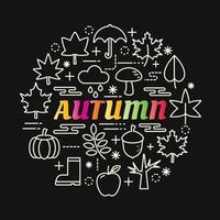 bunte Farbverlaufbeschriftung des Herbstes mit Linienikonen vektor