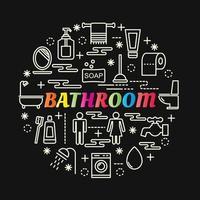 bunte Farbverlaufsbeschriftung des Badezimmers mit Linienikonen vektor