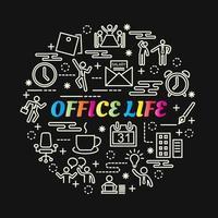 bunte Farbverlaufsbeschriftung des Bürolebens mit Linienikonen vektor