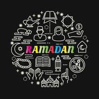 bunte Farbverlaufsbeschriftung des Ramadan mit Linienikonen vektor