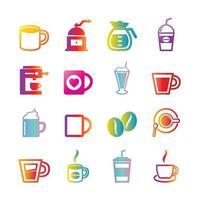 Kaffee-Vektor-Gradienten-Ikonen vektor