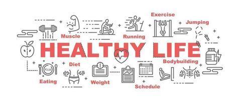 hälsosamt liv vektor banner