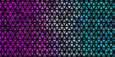 hellblaue, rote Vektorschablone mit Kristallen, Dreiecken. vektor