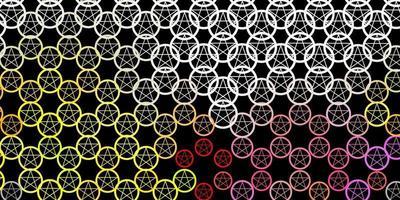 dunkelgrauer Vektorhintergrund mit okkulten Symbolen. vektor