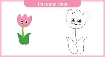 Spur und Farbe niedliche Tulpenblume vektor