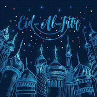 Ramadan-Grußillustration mit Silhouette der Moschee auf dunkelblauem eid-al-fitr. kreatives Designkonzept für muslimischen Urlaub. vektor