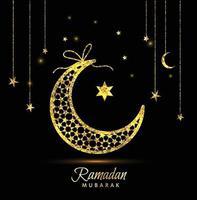 ramadan kareem firande gratulationskort dekorerad med månar och stjärnor vektor