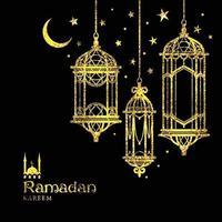 Grußkarte Ramadan Kareem Design mit Lampen und Monden. vektor