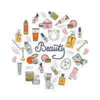Beauty-Set mit kosmetischen Produkten. Sammlung von Flaschen, Tuben, Gläsern und kosmetischen Accessoires im handgezeichneten Stil. Satz koreanische Hautpflegeprodukte. vektor