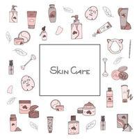 Beauty-Set mit kosmetischen Produkten. Sammlung von Flaschen, Tuben, Gläsern und kosmetischen Accessoires im handgezeichneten Stil. Satz koreanische Hautpflegeprodukte. Beschriftungstext vektor