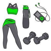 Vektorsatz von Fitnesszubehör im Cartoon-Stil. Vektorillustration lokalisiert auf einem weißen Hintergrund. vektor