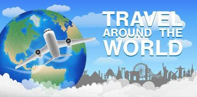 flygplan som flyger och reser runt världsbannern vektor
