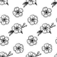 nahtloses Muster der Frühlingsblumen mit handgezeichneten Gestaltungselementen. Vektorillustration im Skizzenstil. vektor