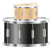 Drumstick auf einer Snare- und Bassdrum vektor