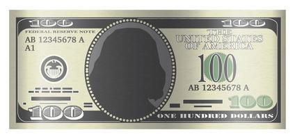 100 usd Banknotenvektor auf weißem Hintergrund vektor