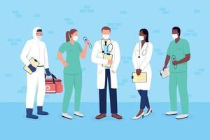 läkare och sjuksköterskor i medicinska masker platt färg vektor ansiktslösa teckenuppsättning