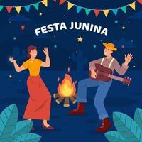 två personer som firar festa junina festival vektor