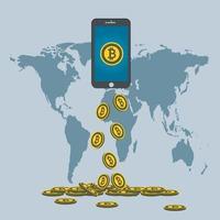 Business-Bitcoin-Konzept. Gold-Bitcoin-Tropfen vom Telefonbildschirm auf der Hintergrundkarte world.vector illustrator vektor