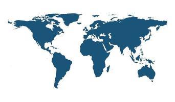 Weltkartenvektor lokalisiert auf weißem Hintergrund vektor