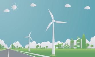 Fabrikökologie, Industrieikone, Windturbinen mit Bäumen und Sonne saubere Energie mit Straßen umweltfreundlichen Konzeptideen. Vektorillustration