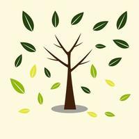 trädikoner med vackra blad ,, ekologikoncept höst med trädbakgrund. vektorillustration. vektor