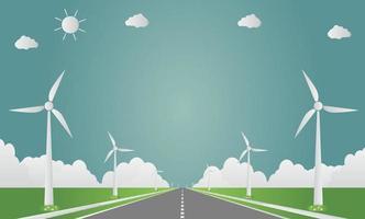 Windkraftanlagen mit sonnenreiner Energie mit umweltfreundlichen Straßenkonzeptideen. Vektorillustration vektor