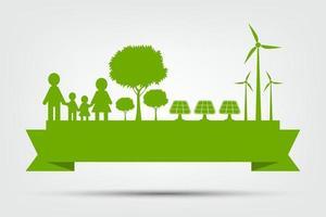 konceptvärldsmiljö och jordsymbol med gröna blad runt städer hjälper världen med miljövänliga idéer, vektorillustration vektor
