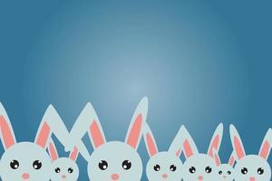 Postkarte zu fröhlichen Ostern, viele Kaninchen glücklich. vektor