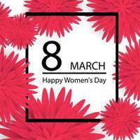Alles Gute zum Tag der Frauen. Papierschnittblumenfeiertagshintergrund mit quadratischem Rahmen vektor