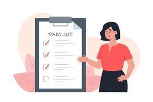 To-Do-Liste, junge Frau setzt Häkchen vor erledigten Aufgaben vektor