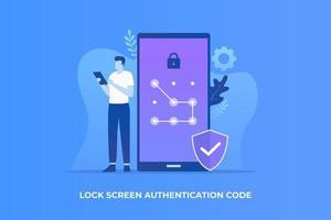 Pola Lock Screen Illustration Konzept vektor