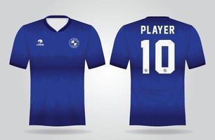 blaue Sporttrikotschablone für Mannschaftsuniformen und Fußball-T-Shirt Design vektor