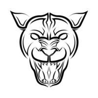 Schwarzweiss-Linienkunst des Pumakopfes. Gute Verwendung für Symbol, Maskottchen, Symbol, Avatar, Tattoo, T-Shirt-Design, Logo oder jedes gewünschte Design. vektor
