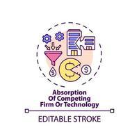 konkurrierende Firmen- und Technologie-Absorptionskonzept-Ikone vektor