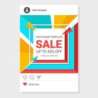 Bunter Verkauf Instagram-Schablonen-Vektor