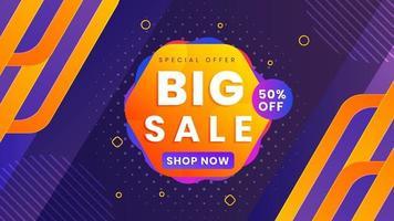 Big Sale Banner Sonderangebot mit Rabatt. moderner Hintergrund mit orange und lila Farbe. Vektorillustration. vektor