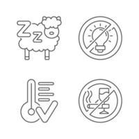 Schlafhygiene lineare Symbole eingestellt vektor