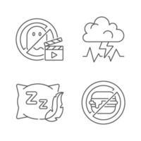 orsaker till dålig sömn linjär ikoner set vektor