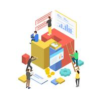 Business Management Teamwork med isometrisk stil vektor illustration