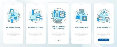 E-Trash-Teile Onboarding Mobile App-Seitenbildschirm mit Konzepten vektor
