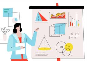 Snygg matte lärare undervisning grundläggande teori framför klassen vektor illustration