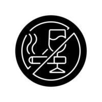 ingen alkohol och cigaretter svart glyph ikon vektor