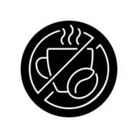 ingen koffein svart glyf ikon vektor