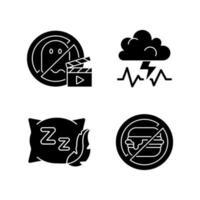 orsaker till dålig sömn svarta glyph-ikoner på vitt utrymme vektor