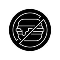 ingen skräpmat svart glyph-ikon vektor