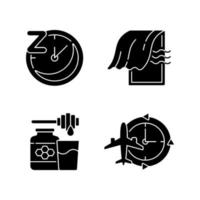 rekommendationer för att förbättra sömnsvarta glyph-ikoner på vitt utrymme vektor