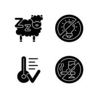 sömnhygien svart glyph ikoner som på vitt utrymme vektor