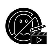 inga skräckfilmer svart glyph-ikon vektor